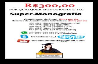 R$350,00 MONOGRAFIA TCC  VENDA MONOGRAFIA TCC ABNT VENDA ENCOMENDA COMPRA FORMATAÇÃO PROJETO PLANO DE NEGÓCIO