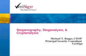 1 Steganography, Steganalysis, & Cryptanalysis Michael T. Raggo, CISSP Principal Security Consultant VeriSign