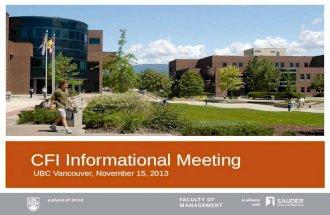 UBC CFI Informational Meeting 111513